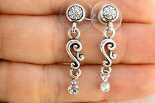 Altered Brighton Silver Charm & Crystal Post Earrings