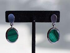 Sterling Silver Malachite Drop Earrings for Pierced Ears