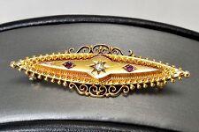 Stunning Victorian 15k 15ct Gold Diamond Ruby Pin Brooch Pendant 1900 marked