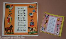 2 uralte Papier Rechentafeln für Puppenschulen mit tollen Motiven Accessoire