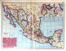 Vintage Antique Original 1920 Print Map Of Mexico & Mexico City Plan & Vera Cruz