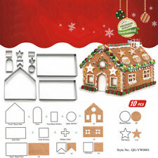 10PCS 3D Stainless Steel Gingerbread House Cake Cookie Cutter Baking Tool Set US