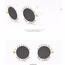 2018 Sunglasses Retro Round Circle Classic Bee Letters Eyewear Glasses Women Men