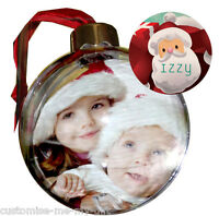 PERSONALISED PHOTO CHRISTMAS SANTA CLAUS BAUBLE |  ADD NAME |  TREE DECORATION 2