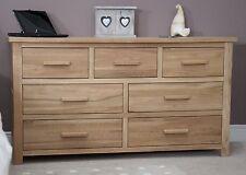 Eton solid modern oak furniture large bedroom wide chest of drawers