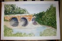 VINTAGE CHARLES RIVER BRIDGE WALK WAY SUMMER TREES FOLK ART DISTRESSED PAINTING
