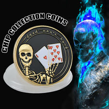 WR Dead Man's Hand Skull Poker Card Guard Protector Casino GOLD Coin Collectible