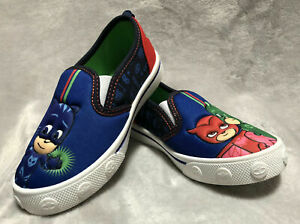 NEW PJ Masks Kids Blue Slip-On Canvas Sneaker Shoes Toddler Sizes 7 and 8