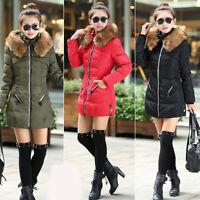 Women Winter Warm Down Jacket Cotton Hooded Fur Collar Parka Coat Outerwear