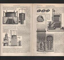 Lithografie 1909: Leuchtgasbereitung. Retortenofen Gaserzeugungsofen Kammerofen