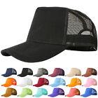 Mesh Baseball Cap Trucker Hat Blank Curved Visor Hat Adjustable Plain Color Js56