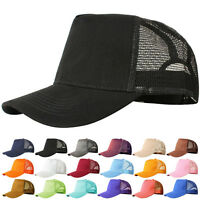 Mesh Baseball Cap Trucker Hat Blank Curved Visor Hat Adjustable Plain Color Js56