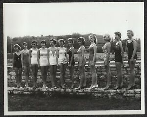 LQQK 8X10 vintage 1950s original, 12 SWELL SWIMSUIT BEAUTIES ALL IN A ROW  #37
