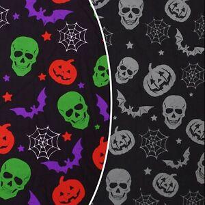 Halloween Cotton Scary Spooky Skulls Pumpkin Bats Costume Craft Dress Fabric Uk