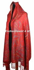 Handmade Stunning MAGNOLIA 2-Ply 100% Cashmere Pashmina Shawl Wrap Scarf, Red