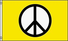 Yellow Peace Sign 3X5 Flag inside or outside hanging hippie novelty emblem #603