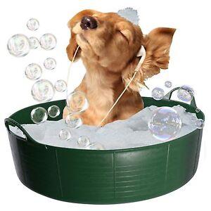 GREEN DOG BATH, DOG PADDLING POOL, DOGGY POOL, FLEXI SHALLOW 35L TUBTRUG PET