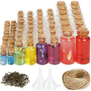 106pcs Mini Glass Bottles with Cork Stoppers Small Jars Favors for DIY Decor (50