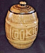 Vintage 1950s wood barrel cookie jar Monmouth Western Stoneware Ovenproof RETRO!