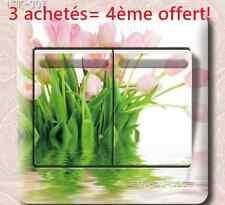 """Autocollant Interrupteur """"Tulipes d'eau"""" Switch Sticker Prise Déco Murale"""