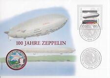 D. Numisbrief  Deutschland  100 Jahre Zeppelin  2000  Farbmünze  Silber
