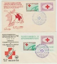 Korea 1959 2 FDC Red Cross isue including M'sheet, good condition