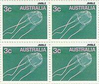 Australian 1984 MNH Stamps Block of 4x 3c - Jimble Jellyfish variety issues