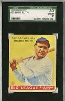 1933 Goudey Babe Ruth #53 Yankees SGC 30 GOOD 2 former Red Sox Curse of Bambino