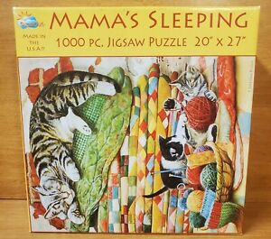 SunsOut MAMA'S SLEEPING 1000 Piece Puzzle, 9815851, Cats, Quilts, Excellent