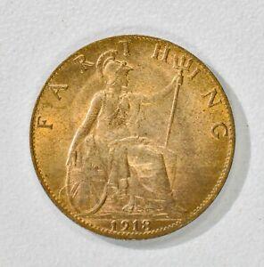 GB GEORGE V BRONZE FARTHING 1918 ++ HIGH MS / UNC GRADE - LUSTRE!! ++ [826-44]
