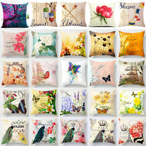 18'' Vintage Flower Cotton Linen Throw Pillow Case Cushion Cover Home Decor