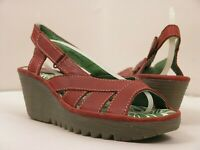 FLY London Damas Sandalia Rojo Vino Verano Leather de Tiras Wedges Tacón UK5 38