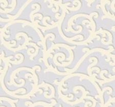 Antonina Vella Sandra Shadow Scroll Silver on Off White Wallpaper As4525