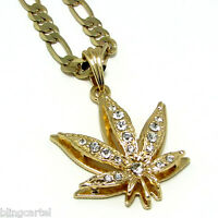Weed Leaf Iced-Out Gold Plated Pot Marijuana Necklace Pendant Figaro Link Chain