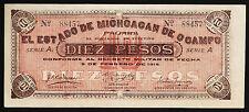 MEXICO 10 PESOS 1915 UNC P S883 SERIE A  ESTADO MICHOACAN DE OCAMPO