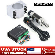 Cnc 500w Brushless Spindle Motor 48v Dc Motor Driver Clamp 12000rmin Us Stock