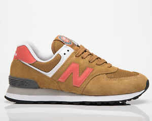 New Balance 574 Women's Brown Solar Red Casual Athletic Lifestyle Sneakers Shoes
