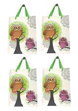 Lagiwa® Lot de 4 Sacs Papier Cadeaux CHOUETTES 3D VERT GM 41X30X11,8cm