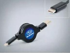 GENUINE SUBARU MICRO USB RETRACTABLE CHARGING CABLE (USB TO USB C ) SAC1030 NEW