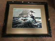 World War I Wwi German Navy Sms Leipzig Sailor Raising Flag Patriotic Painting