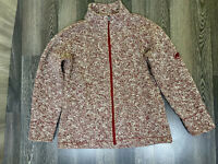 Mammut Long Sleeve Zipped Sweater Top Size L Red/White 34 % Wool 2 Pockets