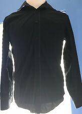 Murano Men's Slim Fit Button-up Long Sleeve Shirt Black Size M(UBA109)