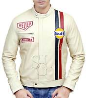 Steve McQueen Le Man Classic Genuine SHEEP Skin OFF WHITE Leather Jacket
