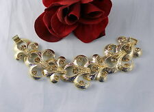 Vintage Amber Rhinestone Gold tone Wide Bracelet FERAL CAT RESCUE