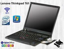 Lenovo ThinkPad T61 Core 2 Duo 14.1 in 4GB Ram 250GB HDD WIN 7 DVD LAPTOP