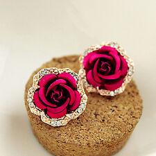 1 Pair Women Gold Plated Earrings Red Rose Crystal Rhinestones Ear Stud Jewelry
