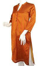 Vintage BIBA Striped Woven Caftan Tunic Top Red & Saffron Size 34 Small