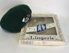 Vintage National Service Equipment Girl Scout Beret Green With Box