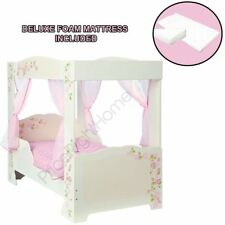 GIRLS ROSE 4 POSTER TODDLER BED + 4 PINK VOILE CURTAINS + DELUXE FOAM MATTRESS