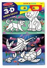 Melissa & Doug Easy-to-See 3-D Marker Coloring Puzzles - Safari and Ocean